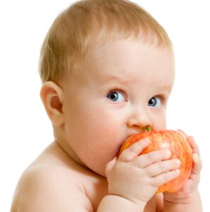 photo of a baby eating a red apple against a white background